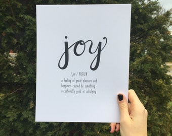 Joy Handlettered Definition Art Print, Faux Calligraphy Word, Definition of Joy, Holiday Gift