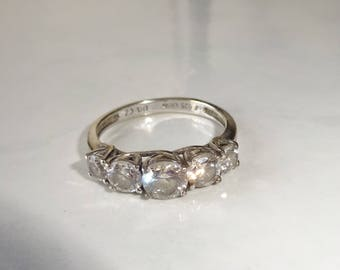 Vintage CZ Ring Sterling Silver Ring Size 10 Multistone Cubic Zirconia