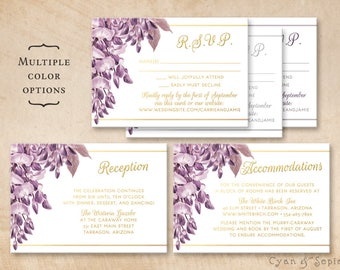 Printable Wedding Enclosure Cards - Purple Wisteria Flowers - 3.5x5 - R.S.V.P. Response Reception Accommodations Lodging Other Cards