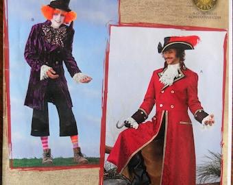 Simplicity 2333. Pirate coat pattern. Captain Hook costume pattern. Mad Hatter pattern. 18th century men's frock coat pattern.  Size XS - M.