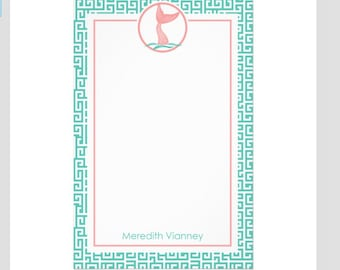 "Personalized  Notepad with Monogram  Mermaid  Monogram Stationery  5.5"" x 8.5"" Teacher Gift"