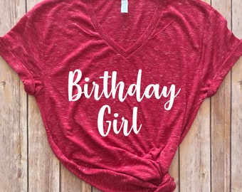 Birthday Girl Shirt, V-neck Birthday Girl T-Shirt, Birthday Gift for her, Hey It's my Birthday, Birthday Girl women's unisex shirt