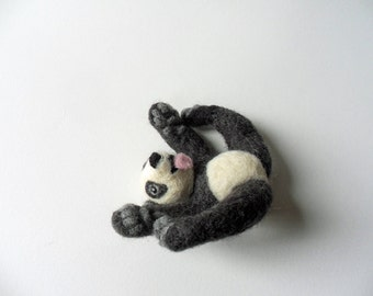 Needle Felted Giant Baby Panda Felting Animal Figure Bear Soft Sculpture Felt Cute Panda Bear Cub Wool Woodland Figurine Fiber Art