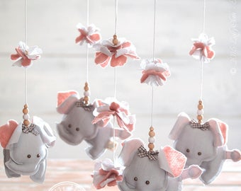 Grey & Pink Nursery Mobile Elephant, Pink and Gray Elephant Mobile, Pink Grey Elephant Nursery Decor, Baby Mobile Elephant //FREE DELIVERY//
