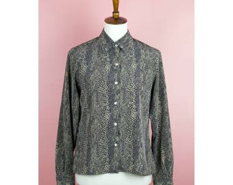 Vintage 90s Snakeskin Printed Long Sleeve Collared Button Down Top