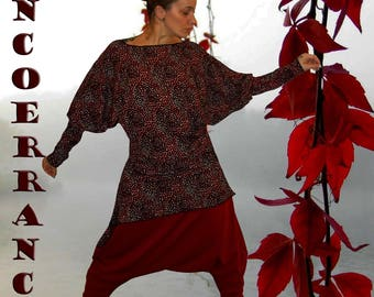 Unstructured asymmetric tunic, stretch top, long tunic ' Red touch...  '