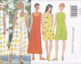 FREE US SHIP Butterick 4993 Sewing Pattern Summer  High Waist Open Back Dress 1997 Size 18 20 22 Bust 40 42 44 Plus Factory Folded