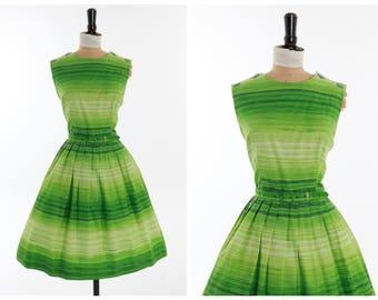 Vintage original 1950s 50s 1960s 60s vibrant green stripe cotton dress UK 10 US 6 S