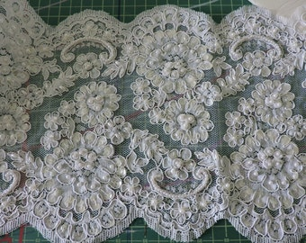 """16 Yards Beaded White Lace Trim Over 10"""" Wide"""
