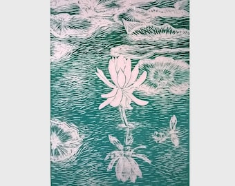 Water lily, Linocut print, Original hand pulled print, Teal wall art, wall art prints, lino print relief, Art for sale, New Forest