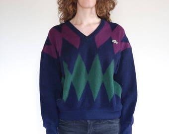 80's Lacoste argyle preppy wool knit sweater