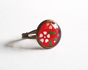 Makiko - ring adjustable 12mm flowers - red and bronze - Japanese washi paper resin