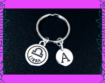 Libra zodiac keyring, September October birthday gift idea, personalised initial charm keyring, horoscope astrology zodiac gift for her, UK