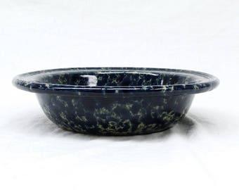 Bennington Vermont Potters Stoneware Blue Agate Rimmed Soup Pasta Serving Bowl