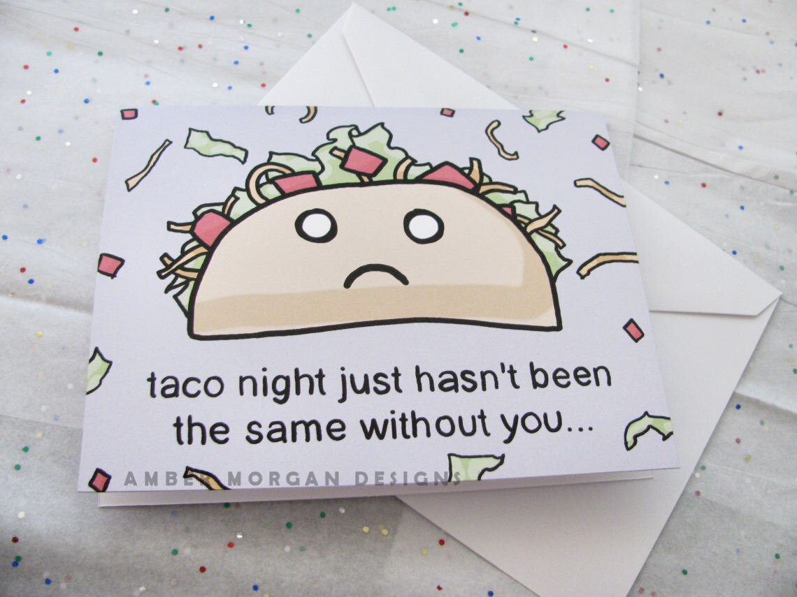 Missing you greeting card taco night greeting card away at zoom kristyandbryce Image collections