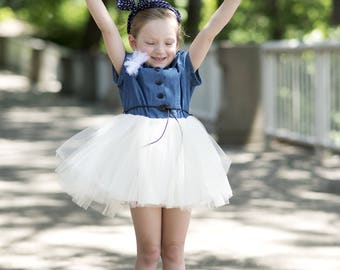 Cutest Dress Ever!   Denim and Tulle together. Sizes  2T-8.  Knot and Sew Couture