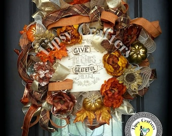 Fall Wreath - Give Thanks with a Grateful Heart - Thanksgiving Wreath -