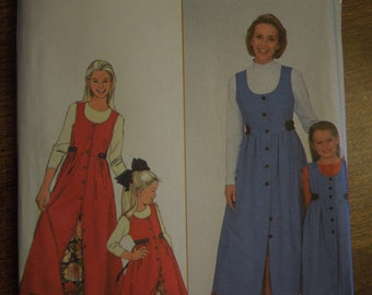 Simplicity 8292, sizes xs-xlarge in adults and 3-8 childrens, UNCUT sewing pattern, craft supplies, jumper and petticoat