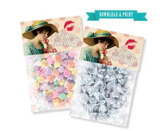 Printable Vintage Valentine Topper Candy Bag Topper Valentine's Day Treat Topper Treat Bag Topper Toppers Printable File Instant Download