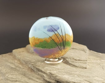 Lampwork Glass Focal Bead - handmade - Scenery Bead The Moors
