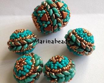 TUTORIAL Superduo beaded bead .Set to make 3 beaded bead
