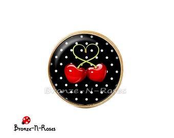 Ring * cherry * bronze black white heart polka dot glass cabochon