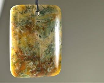 Rare & Unique ~ Beautiful Sagenite Agate Rectangle Pendant  - 48mm x 34.5mm x 6.5mm - B8118