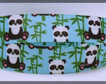 "Panda Bears Bamboo Blue Green Grosgrain Ribbon 7/8"" Scrapbooking HairBows Parties DIY Projects az244"