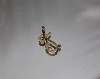 14k - Diamond Script Initial J Pendant Charm in Yellow Gold