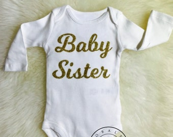 BABY SISTER BODYSUIT,coming come outfit,gold glitter,going home outfit, little sister, girl bodysuit, mountain bodysuit, shower gift