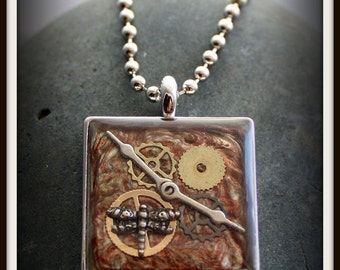 Dragonfly Steampunk Necklace - Hand Painted
