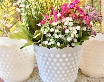 Vases Milk Glass Vases Milk Glass Bowl Milk Glass Planter Hobnail Glass White Vases Wedding Centerpieces Wedding Vases Herb Planter Pot Each