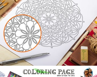 Coloring Page Printable Mandala Adult Coloring Pages Doodle Wall Art Coloring Art Therapy Instant Download Zen Coloring Mandala Papercut Art