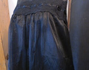 Vintage Black Double Nylon Chiffon Babydoll Float Gown Seamprufe M/42