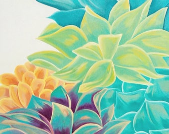 Colorful Succulent Acrylic Painting