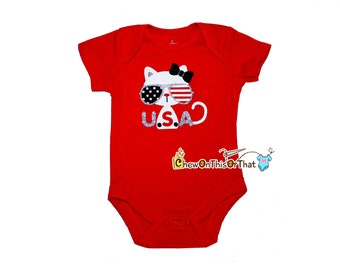 White Kitty Cat USA Red Short Sleeve Baby First Independence Day Statement Bodysuit - Fourth of July Photo Prop Onesie, Shirt