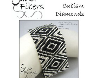 Peyote Pattern - Narrow Cubism Diamonds Peyote Cuff / Bracelet  - A Sand Fibers For Personal/Commercial Use PDF Pattern