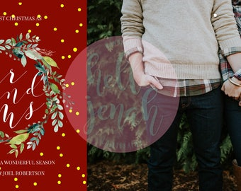 Downloadable Custom calligraphy christmas card, newlyweds christmas greating card, wedding announcement,holiday card, same day PNG download