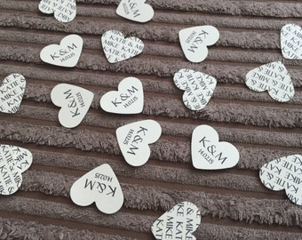 150 Personalised Wedding Heart Confetti Favours - Initials & Names/any wording