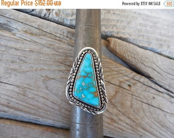 ON SALE Turquoise ring handmade in sterling silver with beautiful natural Sonora turquoise stone