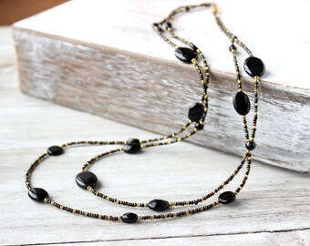 Long Necklace, Black Necklace, Womens Necklace - Mother's Day Gift