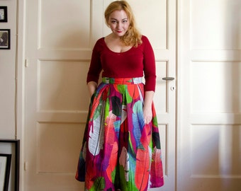 Floral Full Skirt in Winter Colors, Cotton Maxi Skirt With Pleats, Colorful Long Skirt with Pockets