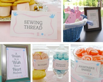 Pink Cinderella Inspired DIY Printable Party Kit with Sewing Theme: Food Labels / Placecards, Signs, Paper Dress Template - INSTANT DOWNLOAD