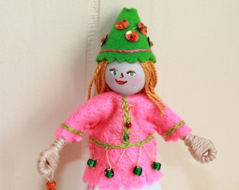 Girl with Green and Pink Dress Hanging Ornament Felt Art Dolls and Miniatures Easter Decorations, felt ornament