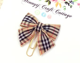 Planner Clip : PLAID / STRIPES Ribbon Bow Gold PaperClip | Page Clip | Bookmark | Page Marker . Planner accessories supply.