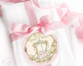 Once upon a time fairy tale princess carriage sticker in pink and gold, a set of 4