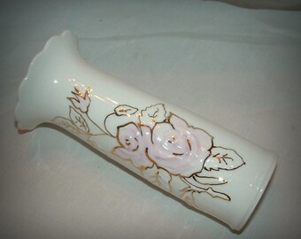 White porcelain Vase with Raised Pink Roses Outlined in Gold