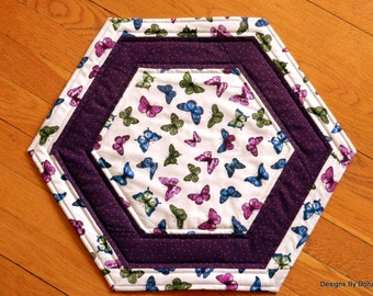 Quilted Reversible (Large) Octagon Candle Mat, Table Topper, Butterflies & Wings, Purple/Orchid, Benartex Fabric, Handmade Table Linens