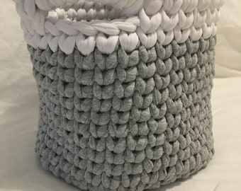 One Grey and White Basket with Handles made with Recycled Tshirt Yarn - Medium