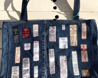 Upcycled Denim Bag or Tote with care labels- Handmade for artists, yarncrafters